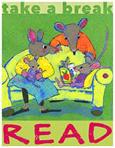 Mouse family reading on couch